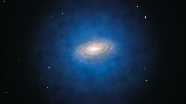 尽管银河系大多数暗物质存在于一个巨大光环之中,但是每个暗物质粒子在引力作用下沿着一个椭圆轨道运行。