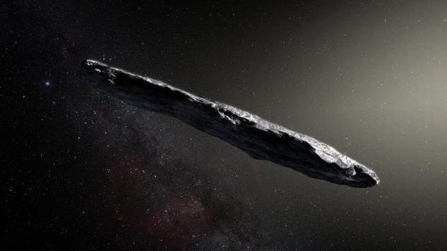 图为艺术家绘制的小行星Oumuamua概念图。