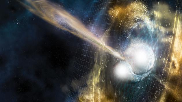 艺术家所绘的两颗中子星合并概念图。