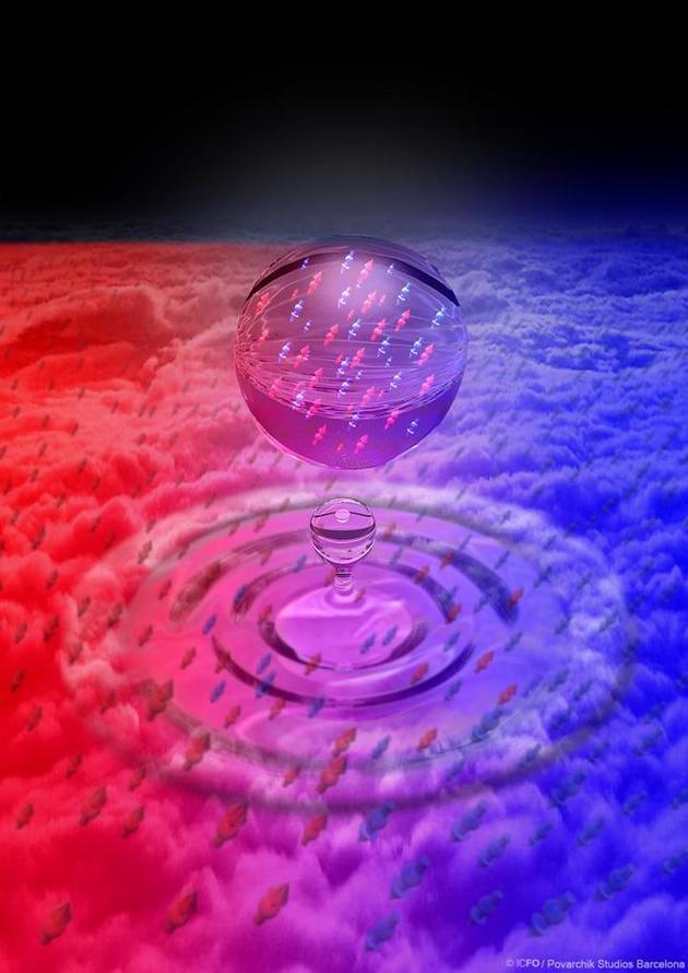 图为艺术家描绘的低温凝聚态钾原子形成量子液滴的情景