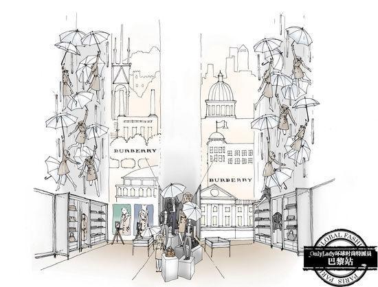 英伦建筑手绘线稿