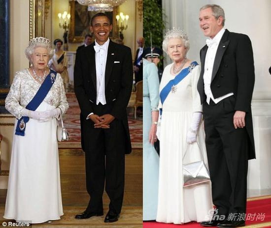 着燕尾服出席英国皇室宴会的美国总统奥巴马和前总统小布什