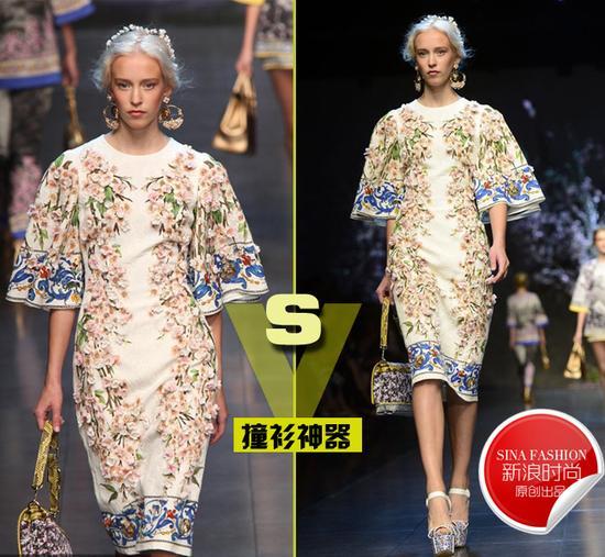 14春夏系列T台秀场-容祖儿身穿Dolce Gabbana 2014春夏荷叶袖连图片