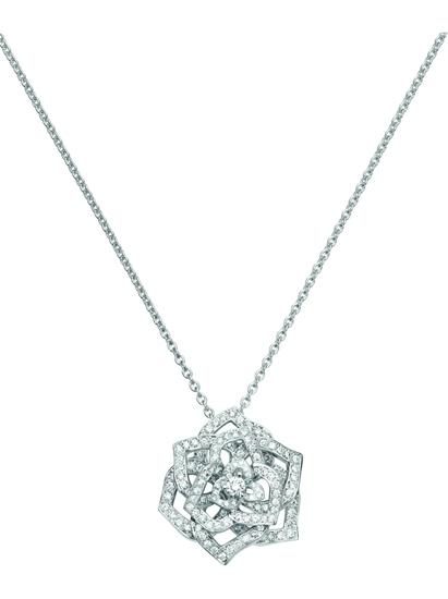 伯爵玫瑰白金鑽石垂飾