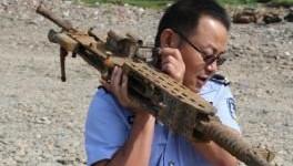 怀化渔民捞出抗战时期日军重机枪 重约70斤