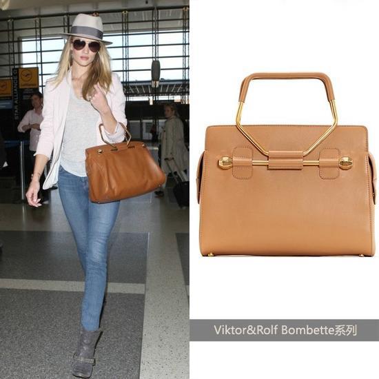 Rosie Huntington-Whiteley演绎棕色款Viktor&Rolf手袋