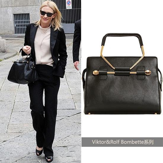 Cate Blanchett演绎黑色款Viktor&Rolf手袋