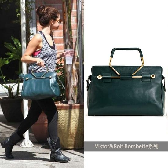 Selena Gomez演绎蓝绿色Viktor&Rolf手袋