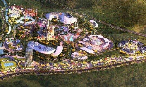 包括室外主题乐园,电影主题乐园,演艺中心,儿童乐园.