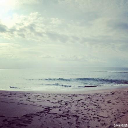 张雨绮济州岛海边看风景