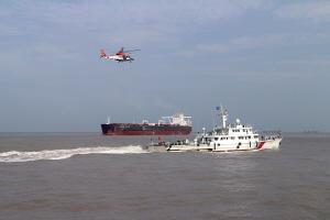省内最大最先进的海事巡逻船首次海空巡航