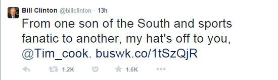 美国前总统克林顿评论库克出柜