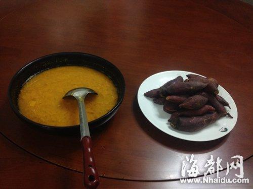 红薯和南瓜汤,是红军饭的标志