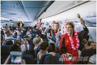 派对爱好者在机上