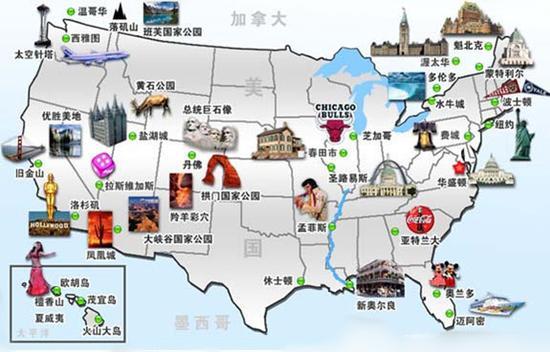 美国旅行地图