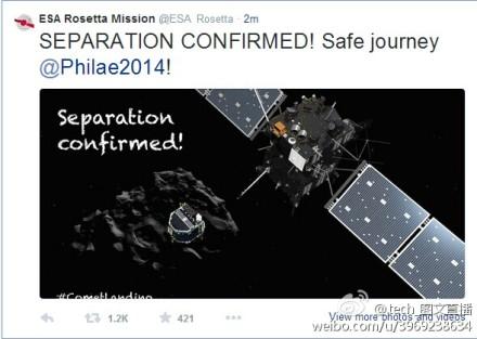 欧空局确认菲莱探测器与罗塞塔飞船成功安全分离。