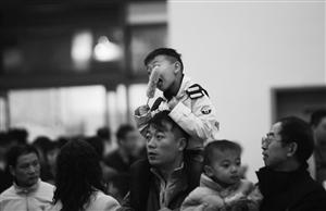 一位小朋友坐在爸爸的肩膀上,啃着玉米逛食博会