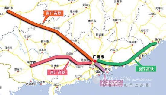 贵广高铁线路图。(资料图片)