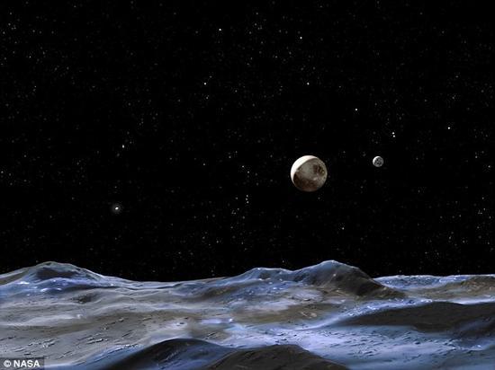 这张艺术图显示的是从冥王星一颗较小卫星上看到的景象,中部偏右较大的矮行星即为冥王星;图右侧是冥王星最大的卫星卡戎(Charon,即冥卫一)