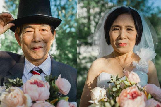 大学退休教授校园内拍小清新婚纱照