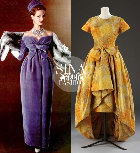 1958年的这身紫罗兰抹胸长裙