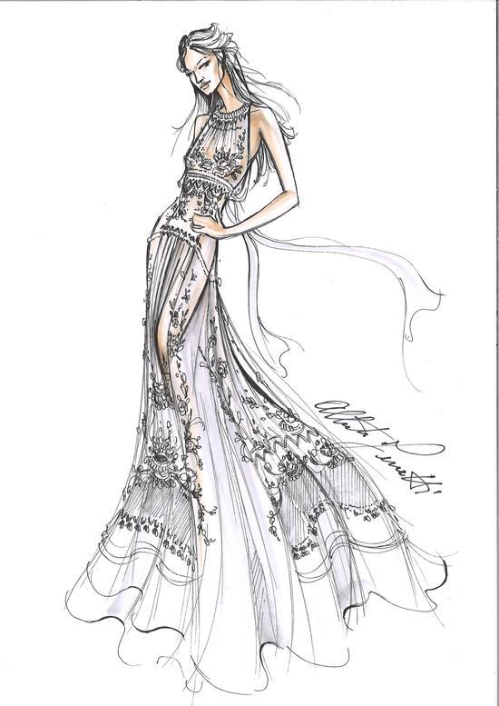 Alberta Ferretti女士为圆圆量身定制的婚纱手稿