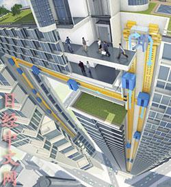 可在垂直和水平方向上移动的电梯系统的效果图(日经中文网)。