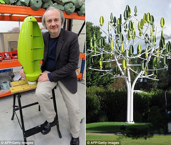 """巴黎一家新兴公司的创办人拉里维埃表示:""""那天一点风也没有,我在一个广场看到树叶抖动,于是产生这个发电方法。我认为,能量必定来自某个地方,被转变成电能。""""这家公司将于2015年出售风树。"""