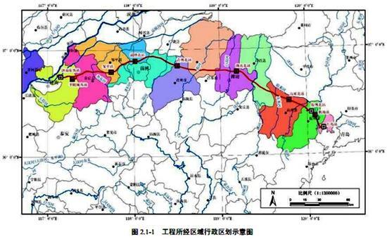 工程所经区域行政区划示意图