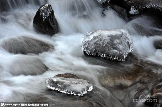 """崂山一夜结冰现冰瀑景观 如同举办""""冰雕展"""""""