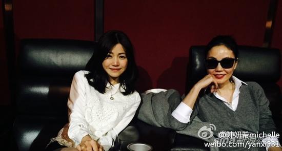 陈妍希和女神王菲合影
