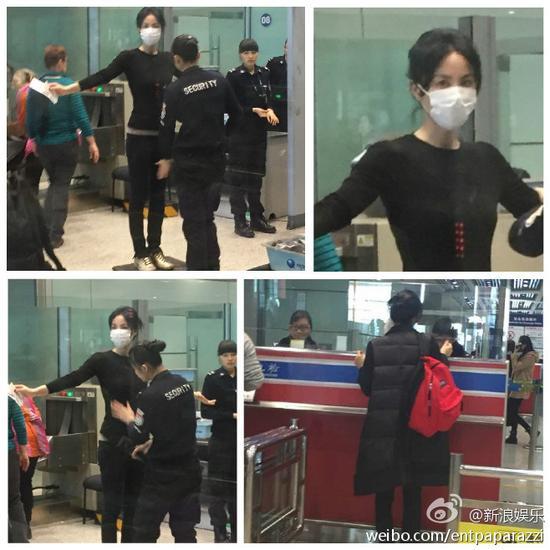 王菲5日赴港机场安检也被拍