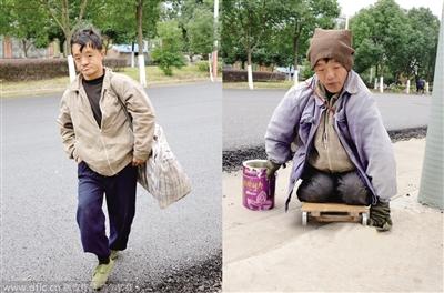 乞丐沿着街道爬行