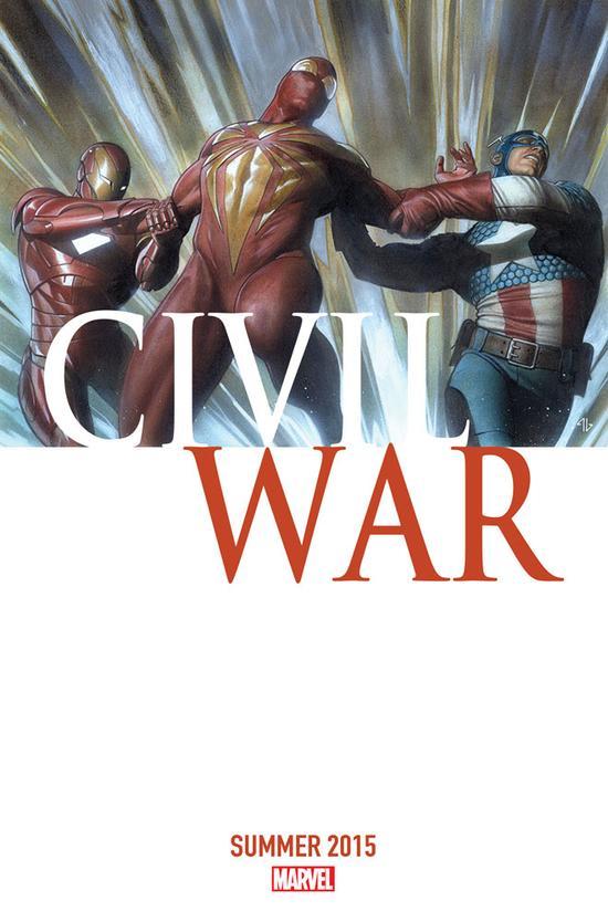 漫威明年重启的漫画《内战》封面,蜘蛛侠成为美队与钢铁侠双方力量的争取对象