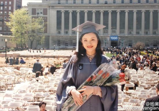 杨澜晒18年前毕业照