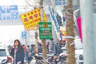 京广路上,不少艺考培训班打出牌子。