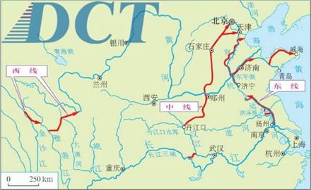 南水北调三线工程路线示意图