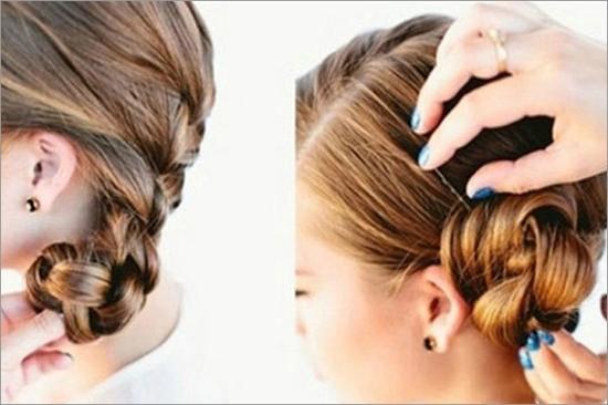 新娘是婚礼上的主角,想要打造完美的新娘造型就要找到适合自己的新娘发型。完美的新娘发型会给新娘们带来更多的自信,提升新娘的气质。下面就来看看小编为大家推荐的复古新娘发型盘发步骤吧。    编发步骤:   Step1:将头发按照2:8的比例分开,从右侧前额出均等的三束头发,再从这三束头发下侧取出一束头发。   Step2:用这四束头发编织四股辫,期间不断并入下面的发束。 不断并入其他的头发,持续编织至耳后