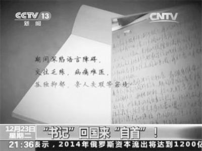 央视曝光王国强自首书