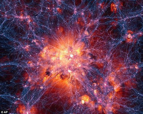 """""""我最感兴趣的事情之一是创造和发现暗物质,""""莫妮卡·邓福德博士说,""""从对宇宙的测量中我们知道,宇宙的25%是暗物质,但我们根本不知道暗物质是什么。""""这是一张对宇宙中暗物质的想象图"""