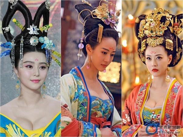 (左起)范冰冰、张钧甯、周海媚,在《武媚娘》中爆乳演出