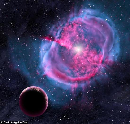 一位艺术家的构想图显示,一个地球一样的行星环绕一颗形成行星状星云的恒星轨道运行。在诞生初期,这个行星可能类似于最近发现的Kepler-438b。