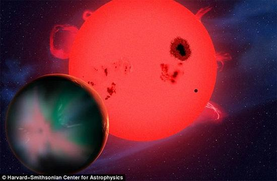 那两个最像地球的行星是Kepler-438b和Kepler-442b。它们都绕红矮星轨道运行。这些恒星不仅比太阳小,还比太阳冷。照片展示了一位艺术家的构想图。
