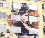 青岛现最牛时尚墙绘大胸女郎