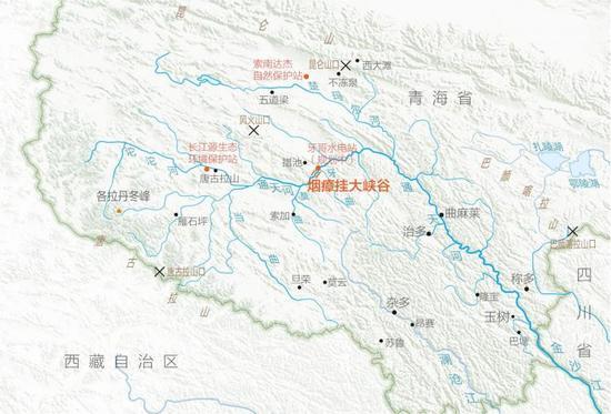 烟瘴挂大峡谷位置图 烟瘴挂峡谷是长江上的第一个大峡谷,在牙曲汇入通天河的地方形成了较大落差。因为地形险峻、环境封闭、人迹罕至,这里成为长江上游的一座生态孤岛。