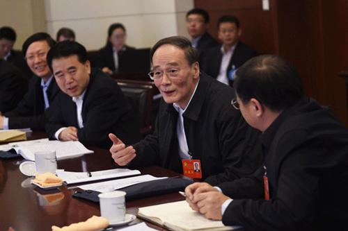 中央政治局常委、中央纪委书记王岐山参加十八届中纪委五次全会分组讨论