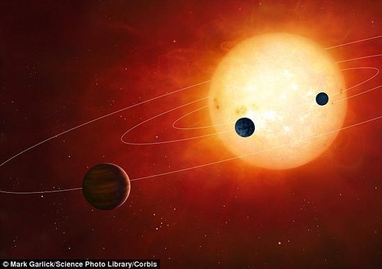 尽管天文学家们仍在寻找更加具体的案例,但理论研究已经指出很多系外行星的确有可能拥有与地球相当规模的大气层。配图为一个假想中的系外行星系统。