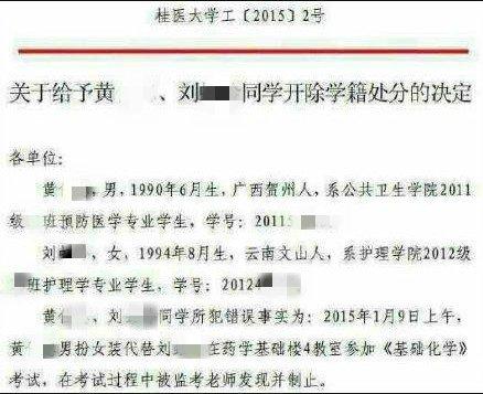 广西医科大学开除涉事学生学籍的处分决定。(图片来自网络)