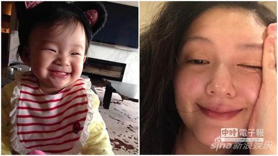 大S晒小玥儿萌照(左),庆爱女满9个月大。(取自大S脸书)