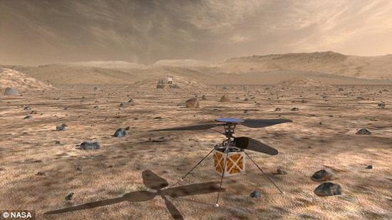 位于加州帕萨迪纳的美国宇航局喷气推进实验室(JPL)的工程师们正在研发一款独特的火星直升机(如图)。按计划它将与未来的火星车一同被发射往火星并着陆。在使用时,它将起飞并勘测火星车周围以及前方地形,从而大大提升漫游车路径规划效率。